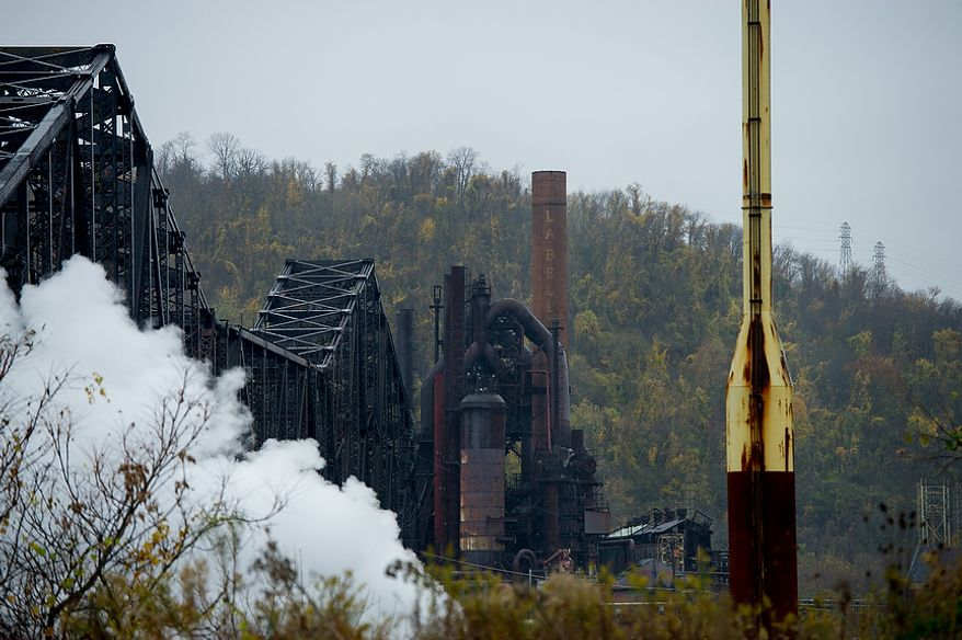A closed steel mill owned by dozens of companies over the years sits closed and rusting, Steubenville, Ohio, Saturday, October 27, 2012. Once a productive steel town, Steubenville, Ohio's population has contracted faster than anywhere else in the country between 1980 and 2000 as their steel plants shut down. The area has seen a drop in unemployment in recent years due in part to the prospects of natural gas but the city still has a long way to go with unemployment figures higher then the the rest of the state and the country. (Andrew Harnik/The Washington Times)