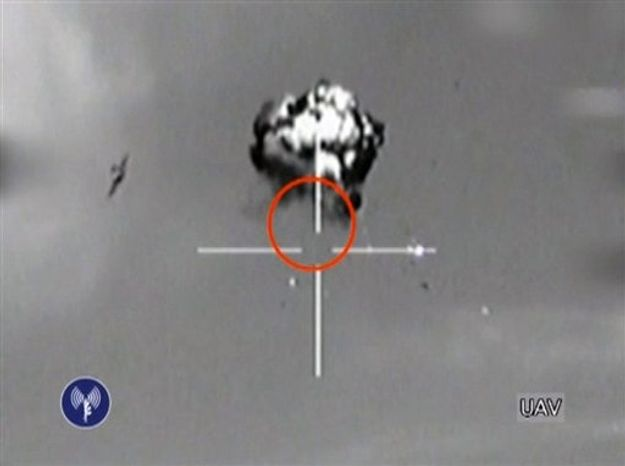 ** FILE ** This Saturday, Oct. 6, 2012, file image made from video released by the Israeli Defense Forces shows the downing of a drone that entered Israeli airspace in southern Israel. (AP Photo/Israeli Defense Forces via AP video, File)