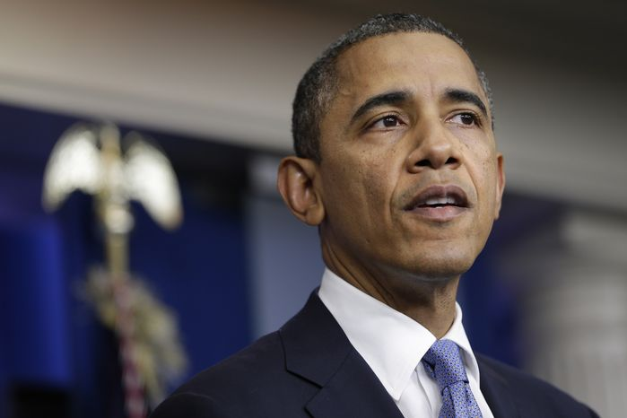 President Obama speaks in the White House briefing room in Washington on Monday, Oct. 29, 2012, after returning to the White House from a campaign stop in Florida to monitor Hurricane Sandy. (AP Photo/Jacquelyn Martin)