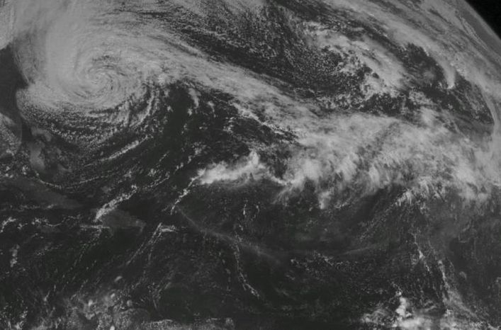 This NOAA satellite image shows Hurricane Sandy off the Mid Atlantic coastline moving toward the north with maximum sustained winds of 75 mph. Heavy rain spreads across North Carolina and Virginia coastlines into
