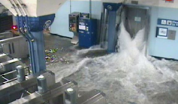 In this photo provided by the Port Authority of New York and New Jersey, a surveillance camera captures the PATH station in Hoboken, N.J., as it is flooded shortly before 9:30 p.m. EDT on Oct. 29, 2012. (Associated Press/Port Authority of New York and New Jersey)