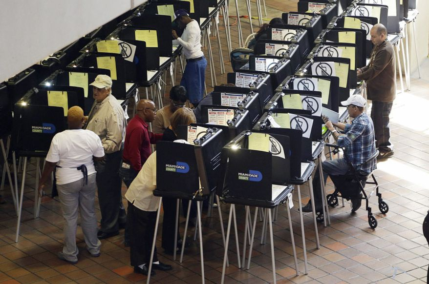 People vote during early voting for the presidential election in Miami.  (AP Photo/Lynne Sladky)