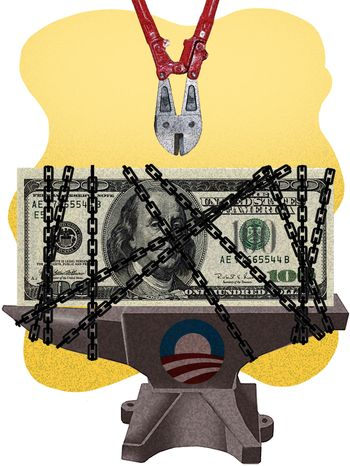 Illustration Economic Recovery by Alexander Hunter for The Washington Times
