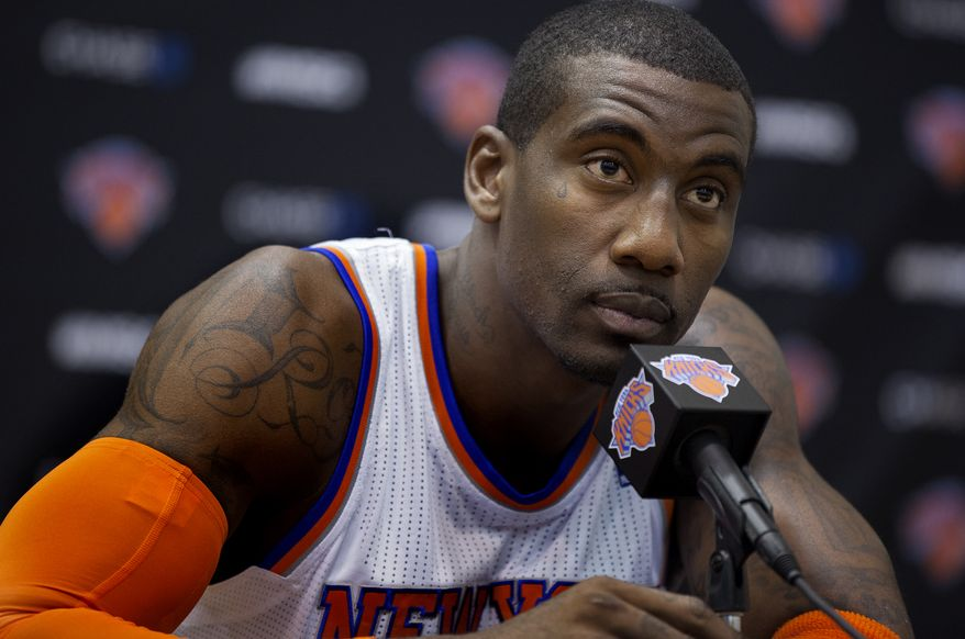 New York Knick Amar'e Stoudemire listens to a question during Media Day at the New York Knicks training facility in Greenburgh, N.Y. Monday, Oct. 1, 2012. (AP Photo/Craig Ruttle)