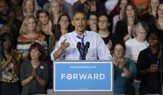 President Barack Obama speaks during a grassroots event at Cornell College on Wednesday, Oct. 17, 2012., in Mount Vernon, Iowa. (AP Photo/Nam Y. Huh)