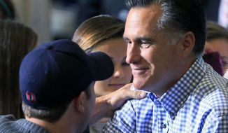 ** FILE ** Republican presidential candidate, former Massachusetts Gov. Mitt Romney shakes hands with a supporter while collecting donations at a storm relief event, Tuesday, Oct. 30, 2012, at James S. Trent Arena in Kettering, Ohio. (AP Photo/Al Behrman)