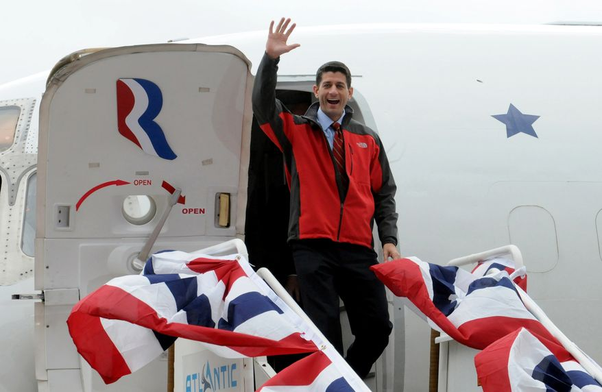 Republican vice presidential candidate, Rep. Paul Ryan, R-Wis. waves to supporters while arriving at the Atlanta Aviation in Moon Township, Pa. on Saturday, Oct. 20, 2012. (AP Photo/Post-Gazette, Lake Fong)