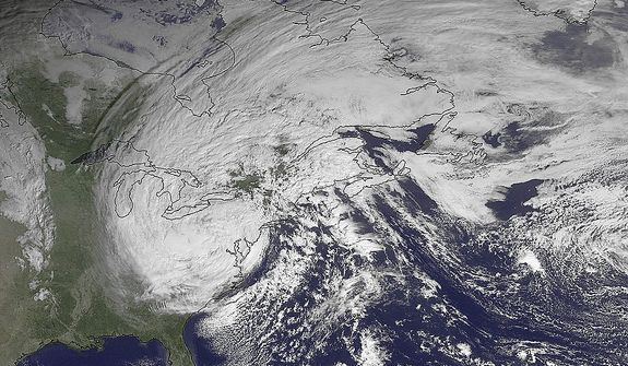 This NOAA satellite image taken Tuesday, Oct. 30, 2012, shows superstorm Sandy slowly moving westward while weakening across southern Pennsylvania. The National Weather Service said a foot and more of snow was reported in lower elevations of West Virginia, where most towns and roads are. High elevations in the mountains were getting more than two feet and a blizzard warning for more than a dozen counties was in effect until Wednesday afternoon. (AP Photo/NOAA)
