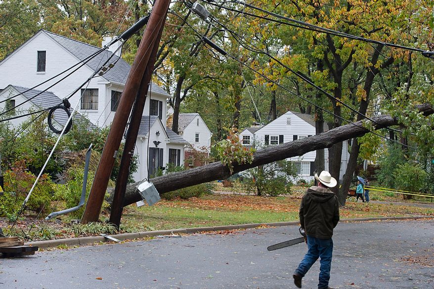 A tree removal worker walks with a chain saw past the large tree that came down across the street on Cameron Mills in the Beverley Hills neighborhood of Alexandria, Va. following Hurricane Sandy on Tuesday, Oct. 30, 2012. This neighborhood still has no power, but fortunately no one was hurt. (Barbara L. Salisbury/The Washington Times)