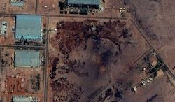 ** FILE ** Part of the Yarmouk military complex in Khartoum, Sudan seen in a satellite image made on October 25 2012, following an alleged attack. A U.S. monitoring group says satellite images of the aftermath of an explosion at a Sudanese weapons factory suggest the site was hit by an airstrike. The Sudanese government has accused Israel of bombing its Yarmouk military complex on Oct 23, killing two people and leaving the factory in ruins. (AP Photo/ DigitalGlobe via Satellite Sentinel Project, File)