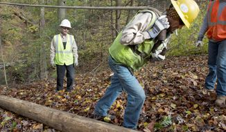 An employee of Williams Electric Co. in Shelby, N.C., pulls a rope uphill to hook onto a new utility pole in order to raise it into place Wednesday in a wooded area off Georgetown Pike in McLean as power restoration was post-storm priority No. 1. (Barbara L. Salisbury/The Washington Times)