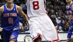 Brooklyn Nets' Deron Williams (8) drives past New York Knicks' Pablo Prigioni (9) during the second half of a preseason NBA basketball game, Wednesday, Oct. 24, 2012, in Uniondale, N.Y. The Knicks won 97-95. (AP Photo/Frank Franklin II)