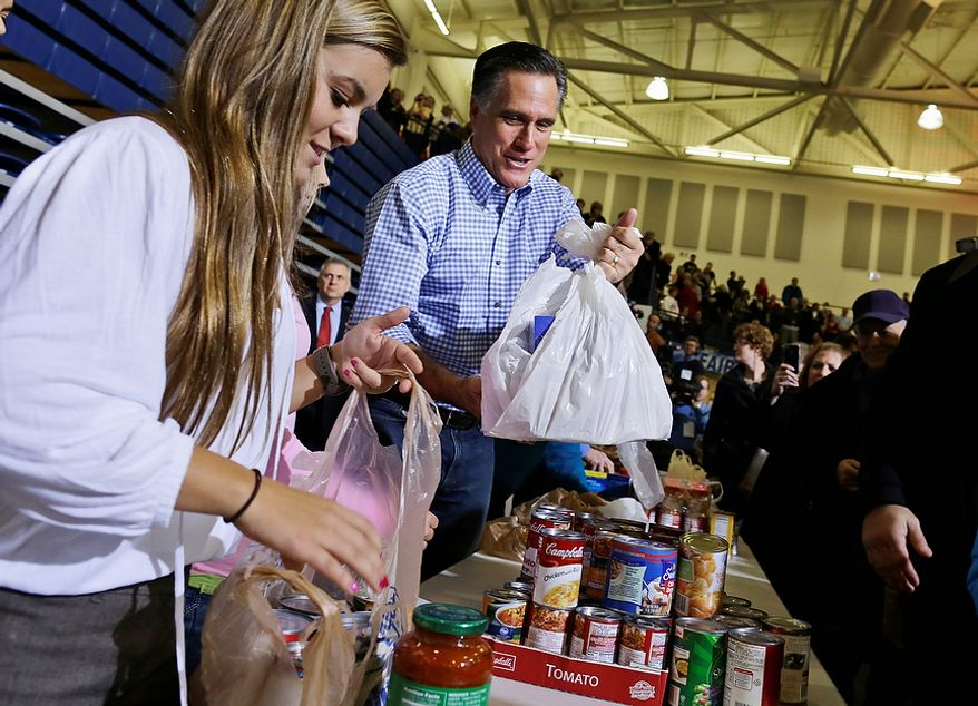 Republican presidential candidate, former Massachusetts Gov. Mitt Romney holds bags of food as he participates in a campaign event collecting supplies from residents local relief organizations for victims of superstorm Sandy, Tuesday, Oct. 30, 2012, at the James S. Trent Arena in Kettering, Ohio. (AP Photo/Charles Dharapak)