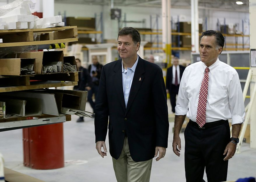 Republican presidential candidate, former Massachusetts Gov. Mitt Romney and Virginia Republican Senate candidate George Allen tour Integrity Windows before a campaign event in Roanoke, Va., Thursday, Nov. 1, 2012. (AP Photo/Charles Dharapak)