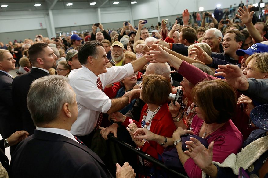 Republican presidential candidate, former Massachusetts Gov. Mitt Romney greets supporters at a campaign stop at Meadow Event Park, in Richmond, Va., Thursday, Nov. 1, 2012. (AP Photo/Charles Dharapak)