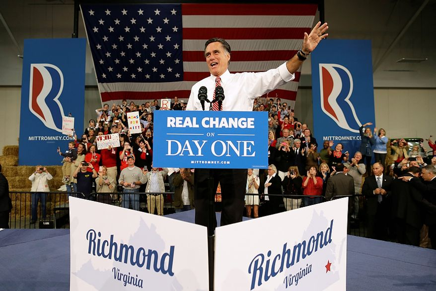 Republican presidential candidate, former Massachusetts Gov. Mitt Romney takes the stage as he campaigns at Meadow Event Park, in Richmond, Va., Thursday, Nov. 1, 2012. (AP Photo/Charles Dharapak)