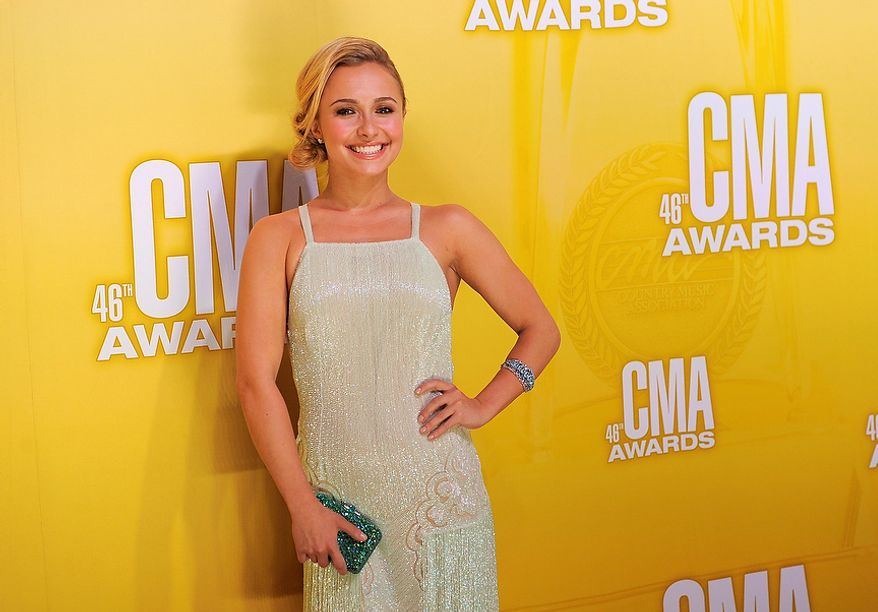 Hayden Panettiere arrives at the 46th Annual Country Music Awards at the Bridgestone Arena on Thursday, Nov. 1, 2012, in Nashville, Tenn. (Photo by Chris Pizzello/Invision/AP)