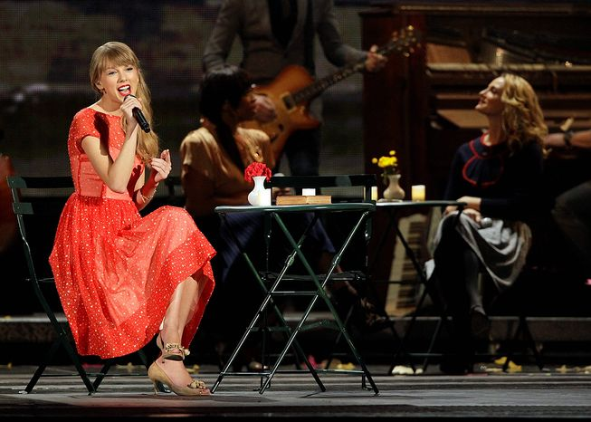 Taylor Swift performs onstage at the 46th Annual Country Music Awards at the Bridgestone Arena on Thursday, Nov. 1, 2012, in Nashville, Tenn. (Photo by Wade Payne/Invision/