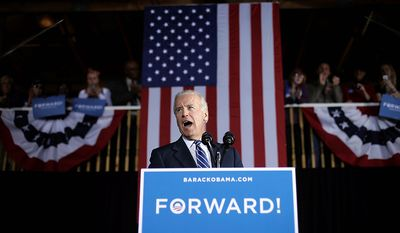 Vice President Joe Biden speaks during a campaign rally at The Opera House at Fort Museum, Thursday, Nov. 1, 2012, in Fort Dodge, Iowa. (AP Photo/Matt Rourke)