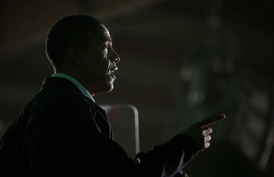 President Barack Obama gestures as he speaks to supporters during a campaign event at Franklin County Fairgrounds in Hilliard, Ohio, Friday, Nov. 2, 2012. (AP Photo/Pablo Martinez Monsivais)