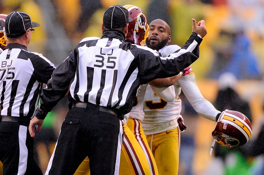 Washington Redskins cornerback DeAngelo Hall (23) is ejected from the game in the fourth quarter at Heinz Field, Pittsburgh, Pa., Oct. 28, 2012. (Preston Keres/Special to The Washington Times)