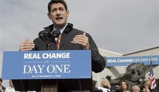 Republican vice presidential candidate, Rep. Paul Ryan, R-Wis. gestures as he speaks during a campaign event, Thursday, Nov. 1, 2012, in Greeley, Colo. (AP Photo/Mary Altaffer)