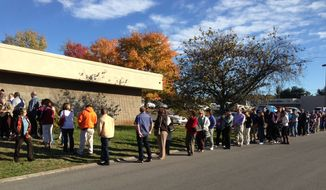 Voters line up at the Downtown West location in Knoxville, Tenn., to cast their early voting ballot on Thursday, Nov. 1, 2012. Early voting in Tennessee ends on Thursday with the general election occurring on Tuesday, Nov. 6, 2012. (AP Photo/Knoxville News Sentinel, Bruce Carillon)