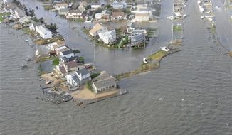 This image taken during an overflight by Coast Guard Air Station Cape Cod shows storm damage from Superstorm Sandy in New Haven, Conn., on Wednesday, Oct. 30, 2012. (AP Photo/U.S. Coast Guard, Petty Officer 2nd Class Rob Simpson)
