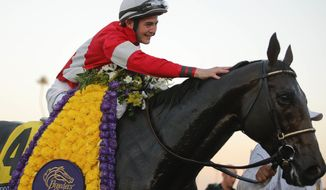 Brian Hernandez Jr. pats Fort Larned on the neck after winning the running of the Breeders' Cup Classic horse race, Saturday, Nov. 3, 2012, at Santa Anita Park in Arcadia, Calif. (AP Photo/Jae C. Hong)