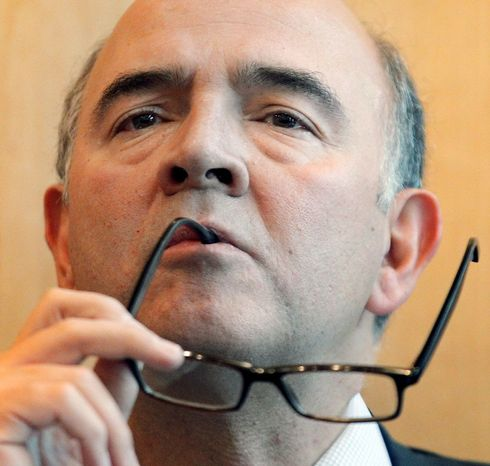 French Finance Minister Pierre Moscovici pauses as he speaks with journalists during a news conference in Paris, Wednesday, Oct. 17, 2012. France is creating a new government-backed investment bank that will aim to spur economic growth by lending to small and medium-sized enterprises. (AP Photo/Christophe Ena)