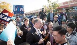 Two days before Election Day, Democratic U.S. Senate candidate Tim Kaine was in Falls Church for a Sunday rally. Republican George Allen was in Newport News with Mitt Romney. (Rod Lamkey Jr./The Washington Times)