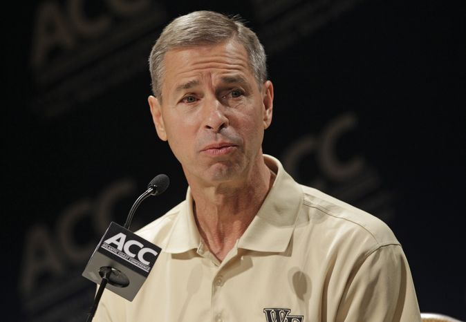 Wake Forest head coach Jeff Bzdelik speaks during the Atlantic Coast Conference NCAA college basketball media day in Charlotte, N.C., Wednesday, Oct. 17, 2012. (AP Photo/Chuck Burton)