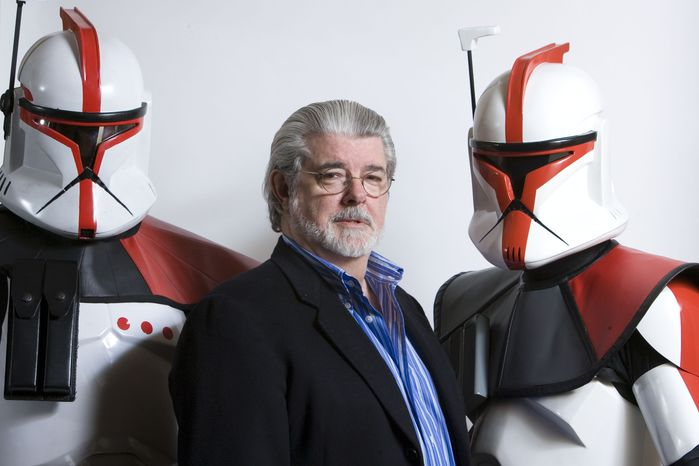 Director-producer George Lucas poses for portrait in Las Vegas in 2008. (AP Photo/Matt Sayles)