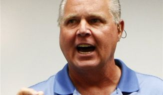 Conservative talk show host Rush Limbaugh speaks Jan. 1, 2010, during a news conference in Honolulu. (Associated Press) **FILE**