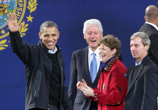 President Barack Obama is joined by former President Bill Clinton, Sen. Jeanne Shaheen, D-N.H., and Gov. John Lynch, D-N.H. at a campaign event, Sunday, Nov. 4, 2012, in Concord, N.H. (AP Photo/Jim Cole)
