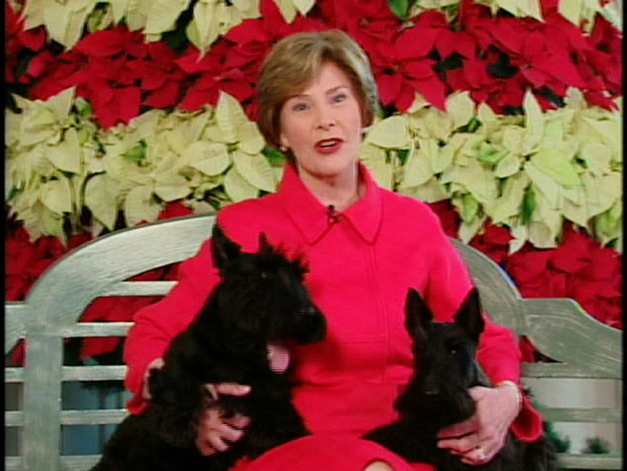 "This video image provided by the White House shows first lady Laura Bush with Barney and Miss Beazley appearing in the ""Barney Cam"" holiday doggie video. (AP Photo/White House)"
