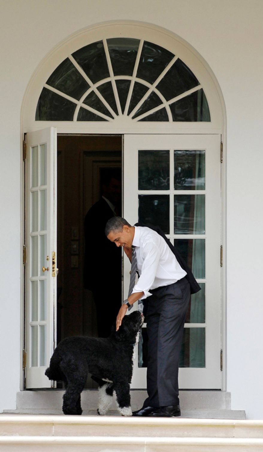 President Barack Obama pets the family dog Bo, a Portuguese water dog, outside the Oval Office of the White House in Washington, Thursday, March, 15, 2012. (AP Photo/Pablo Martinez Monsivais)