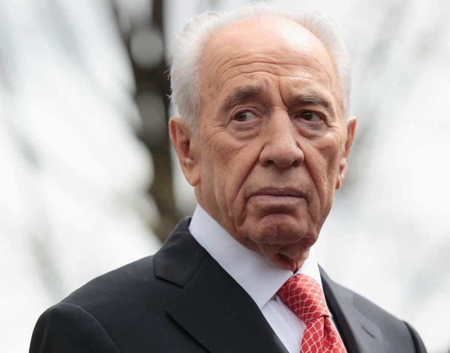 ** FILE ** In this April 5, 2011, file photo Israeli President Shimon Peres speaks to members of the media outside White House in Washington following his meeting with President Barack Obama. (AP Photo/Pablo Martinez Monsivais, File)
