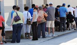 The lines were long for voters all over Florida, including Jacksonville, on Saturday, the last day of early voting. A judge ordered Orange County to extend the early-voting period after one site was shut down for several hours. (Florida Times-Union via Associated Press)