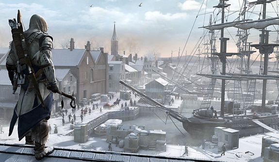 The snowy port of an 18th century Boston from the video game Assassin's Creed III.