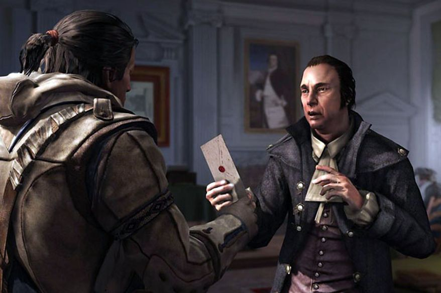 Connor conspires with Samuel Adams in the video game Assassin's Creed III.