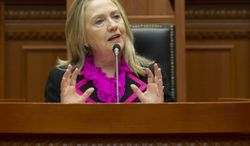 **FILE** Secretary of State Hillary Clinton speaks Nov. 1, 2012, to the Albanian Parliament in Tirana, Albania. (Associated Press)