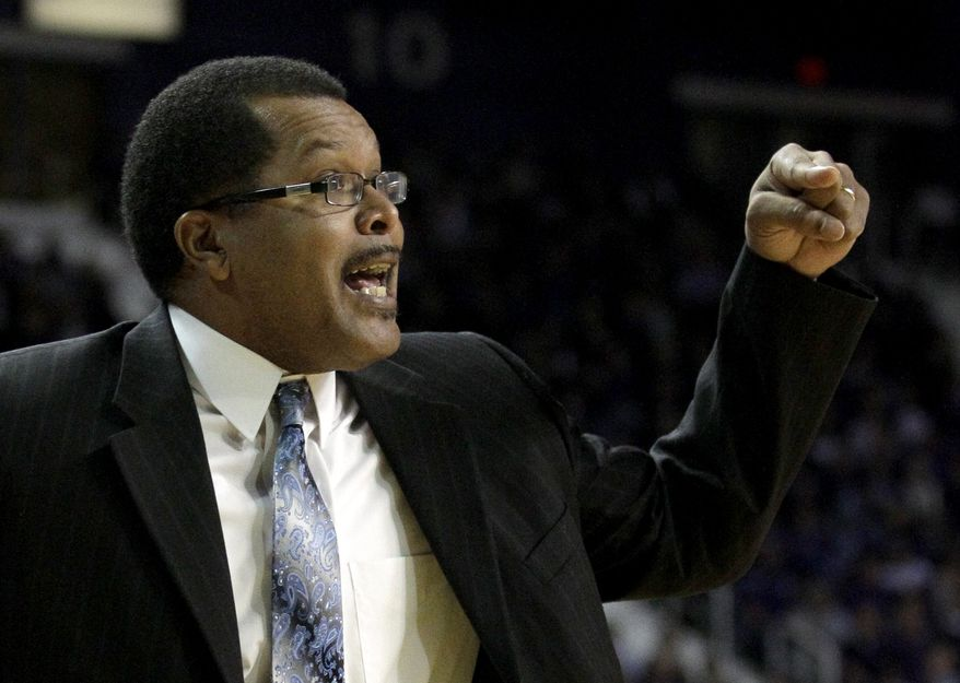 Savannah State coach Horace Broadnax talks to his players during the first half of an NCAA college basketball game against Kansas State Monday, Jan. 3, 2011, in Manhattan, Kan. (AP Photo/Charlie Riedel)