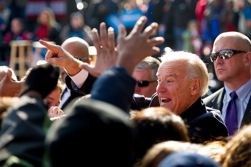 Vice President Joe Biden greets supporters after speaking at a campaign rally with his wife, Dr. Jill Biden, join Virginia Democratic candidate for Senate Tim Kaine, Sen. Jim Webb (D-Va.), and Sen. Mark Warner (D-Va.) at the Heritage Farm Museum at Claude Moore Park, Sterling, Va., Monday, November 5, 2012. (Andrew Harnik/The Washington Times)