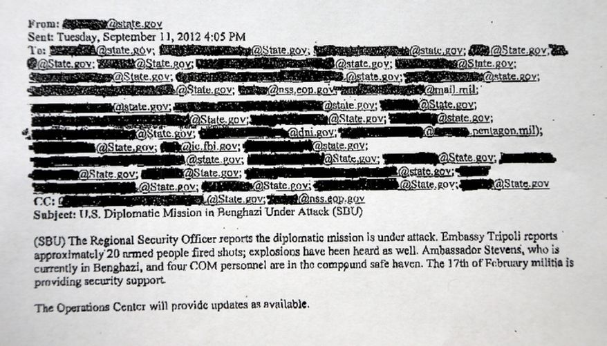 This redacted copy of an email obtained by The Associated Press discusses the attack on the U.S. Consulate in Benghazi, Libya, on Tuesday, Sept. 11, 2012. Two hours after the mission came under attack, the White House was told that a militant group was claiming responsibility for the violence that killed the U.S. ambassador and three other Americans. (AP Photo)