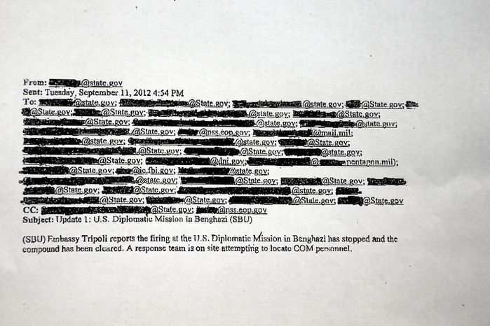 This redacted copy of an email obtained by The Associated Press discusses the attack on the U.S. Consulate in Benghazi, Libya, on Tuesday, Sept. 11, 2012. Two hours after the mission came under attack, the White Hou