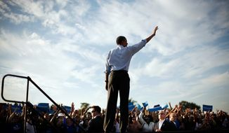 President Obama waves to supporters Nov. 4, 2012, during a campaign event at McArthur High School in Hollywood, Fla. (Associated Press)