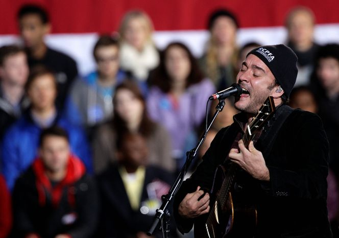 Musician Dave Matthews performs Nov. 4, 2012, before the arrival of President Obama for a campaign rally at the Community College of Aurora, in Aurora, Colo. (Associ