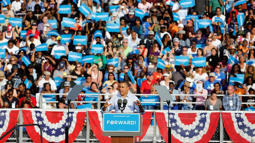 President Obama speaks Nov. 4, 2012, during a campaign event at McArthur High School in Hollywood, Fla. (Associated Press)