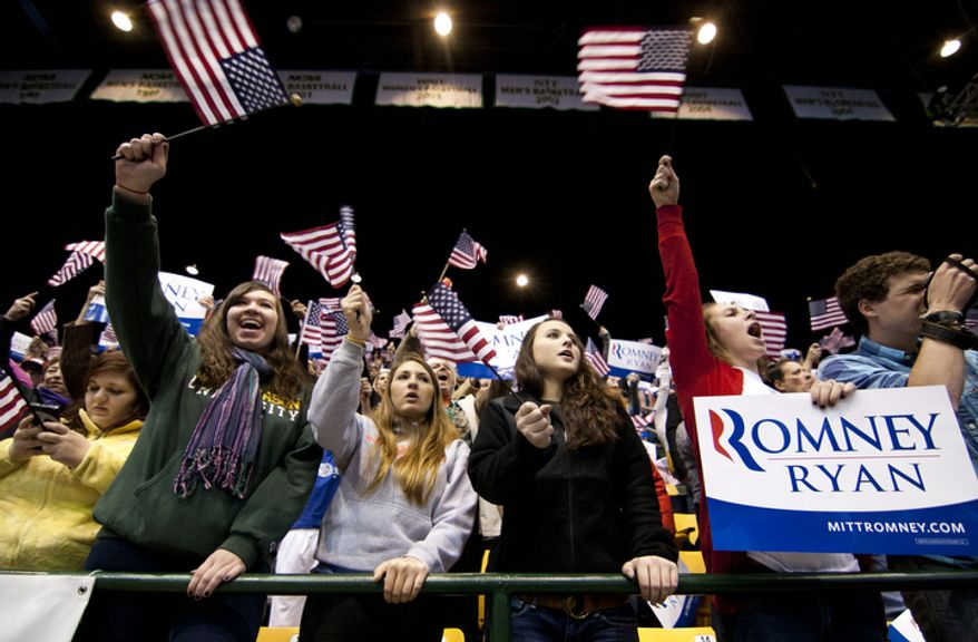 Supporters cheer during republican presidential candidate, former Massachusetts Gov. Mitt Romney campaign rally at The Patriot Center, George Mason University in Fairfax, Va., Monday, Nov. 5, 2012. (Craig Bisacre/The Washington Times)